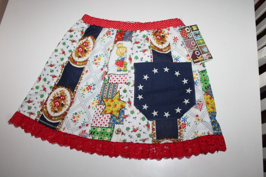 Upcycled vintage lace bottom skirt, Size 3/4