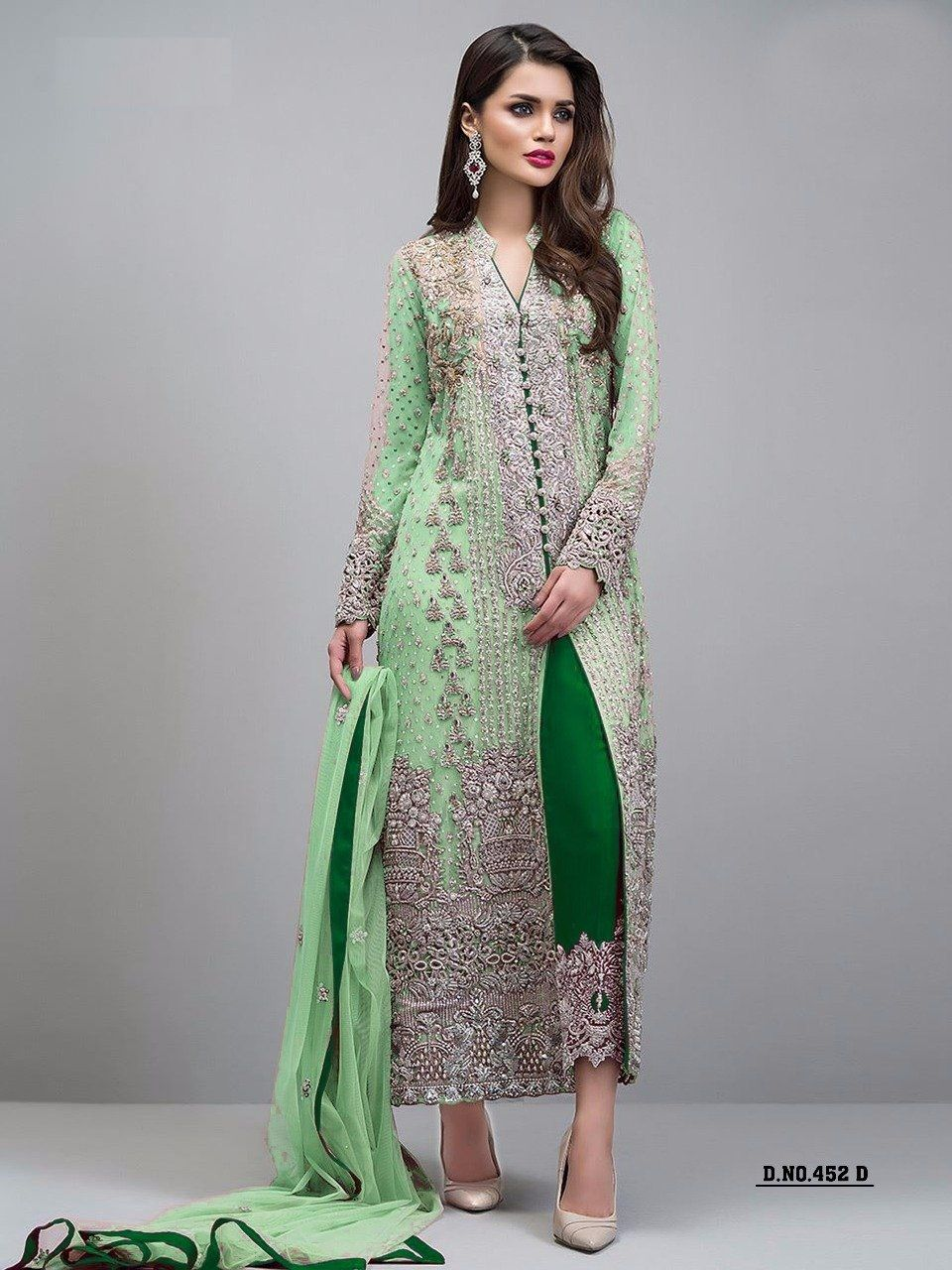 651b9f948f77 Embroidered With Diamond work Light Green Color Straight Pant Suit ...