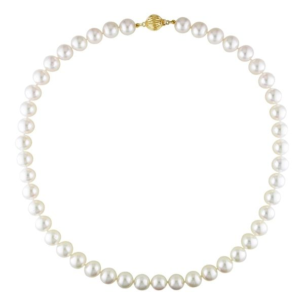 Miadora Signature Collection 14k Yellow Gold White Cultured Akoya Pearl Necklace (9-9.5 mm)
