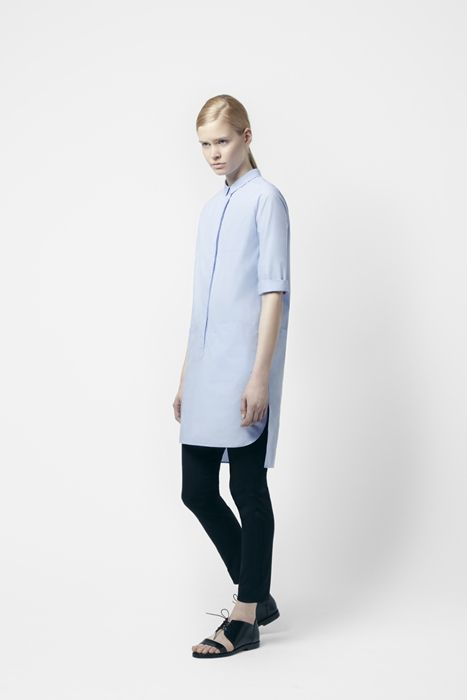 Slim, navy blue pants.
