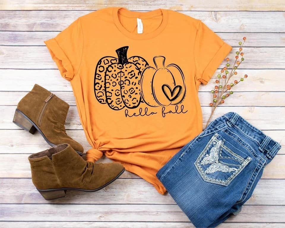 Hello Fall Shirt For Women Pumpkin Shirt Fall Shirt Etsy