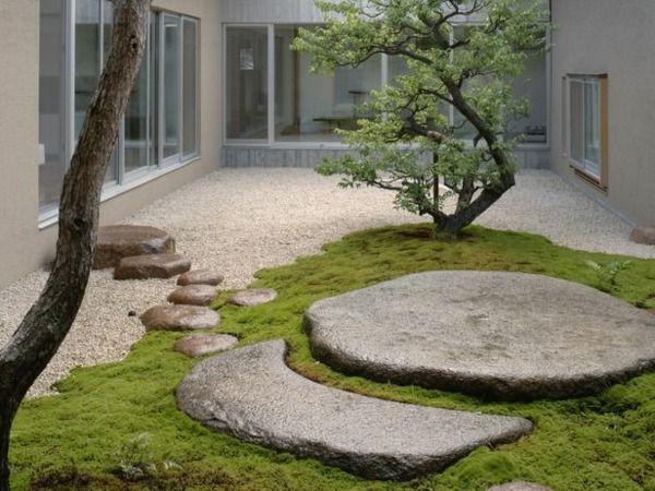 Gartengestaltung und Steinen bäume fußweg hinterhof mit Kies