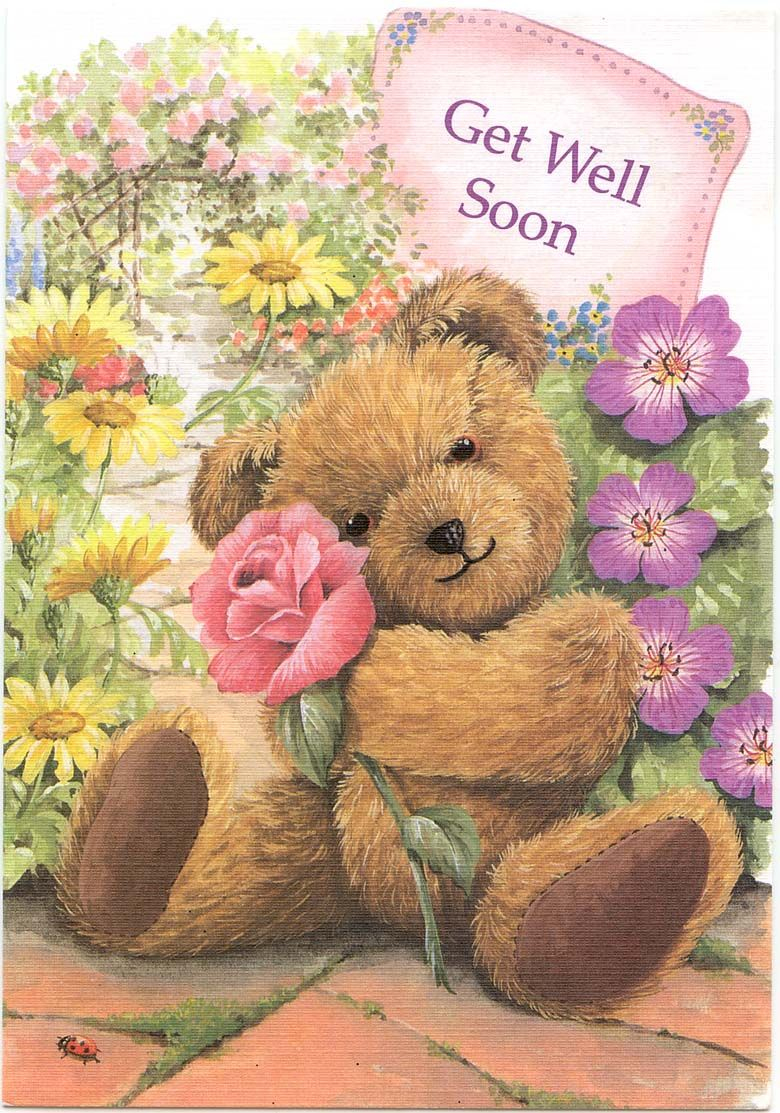Getwell soon from arlene 10 22 12 happy holiday pinterest teddy with flowers get well soon greeting card dhlflorist Images