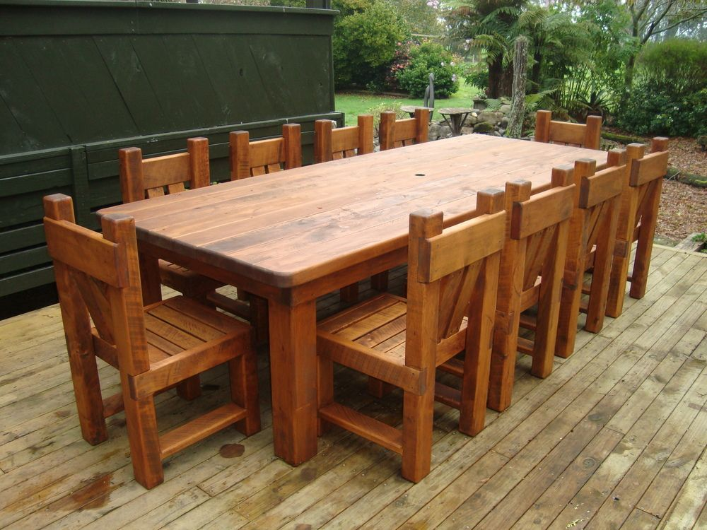 3m Macrocarpa Table With 10 Chairs $4,250