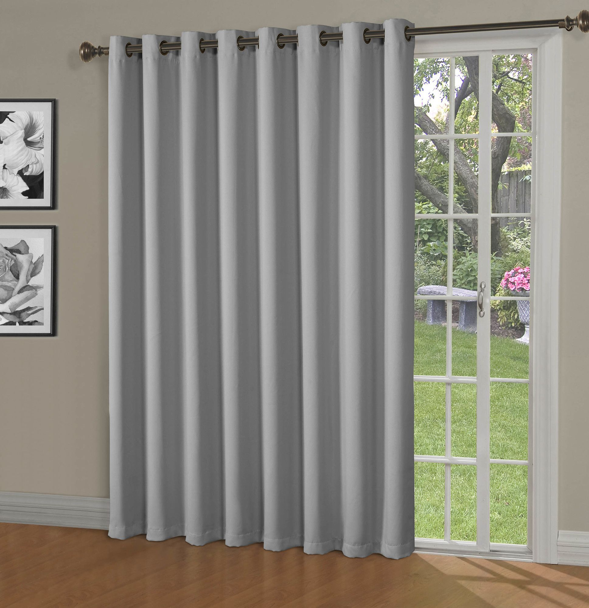 Maya Blackout Thermal Patio Door Extra Wide Grommet Curtain Panel
