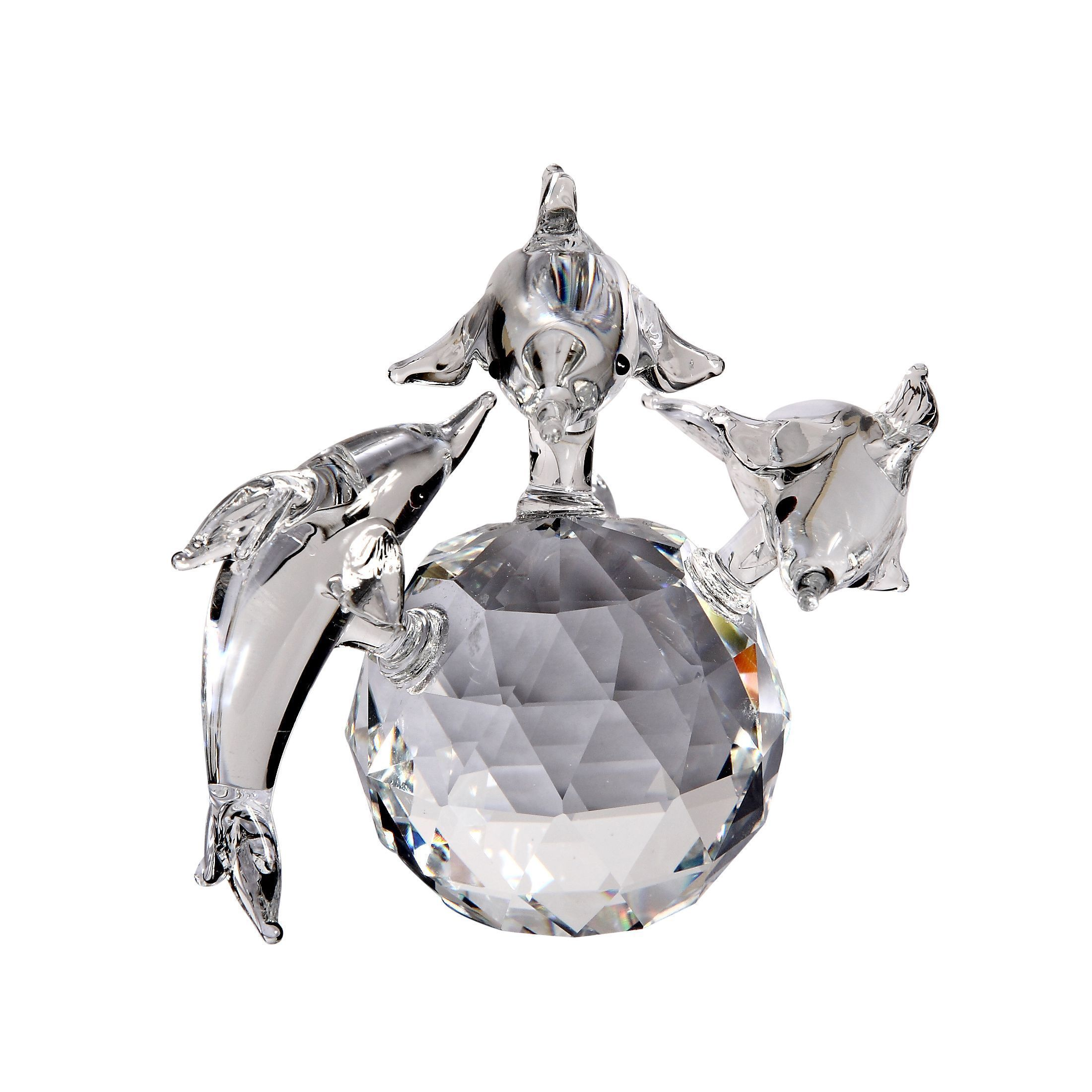 This family of dolphins made out of fine crystal is a fine addition to your crystal collection. These dolphins are gift boxed and come with a certificate of authenticity from Crystal Florida.