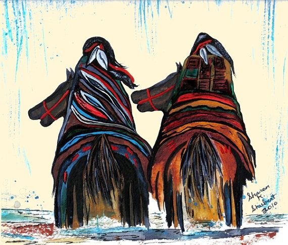 native american art indians watercolor painting riding horses tribal southwestern home decorred river wall hanging giclee print 8 x 10 - Native American Decor