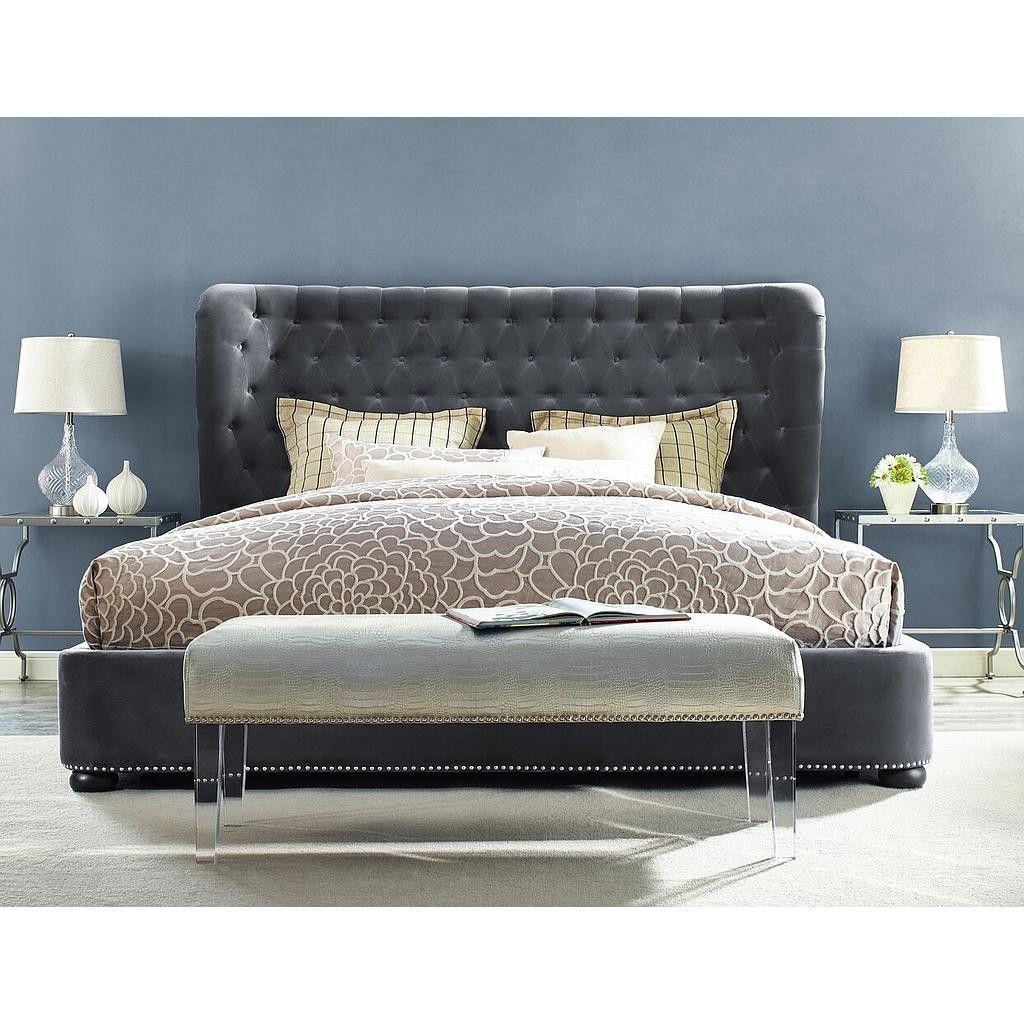 Finley Grey Velvet Bed in King