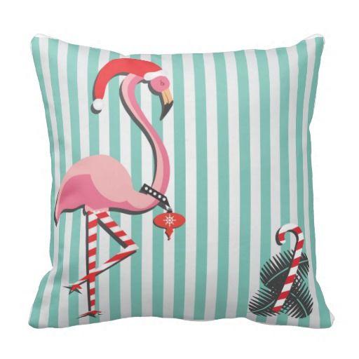 Fancy Flamingo Ready for Christmas Pillows