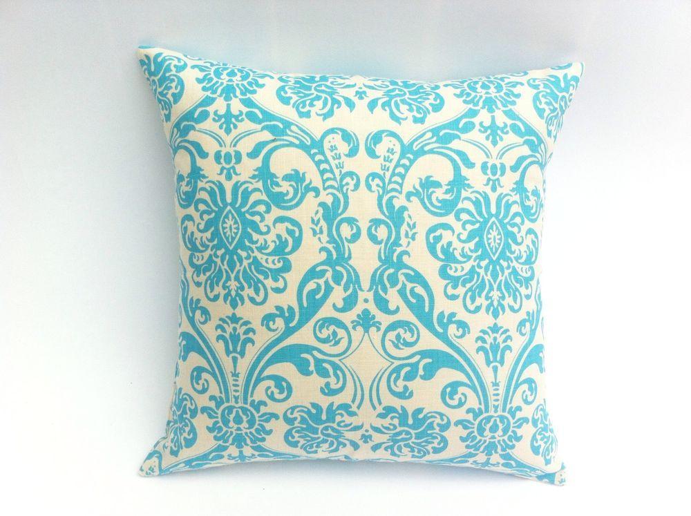 One Aqua And Cream Damask Decorative Pillow Cover