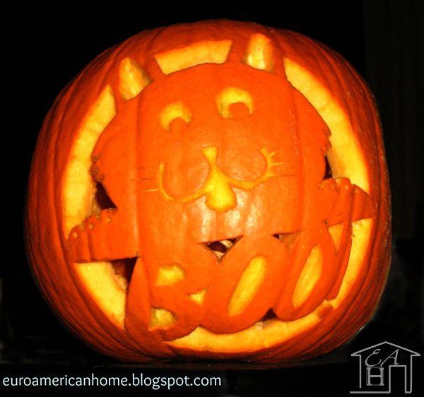 Cat shaped carved pumpkin