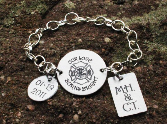 Personalized Firefighter Friend Wife Bracelet Jewelry 16 Wedding