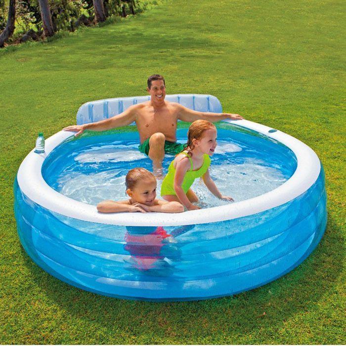 Intex Swim Center Inflatable Family Lounge Pool Kids Water Swimming Play Fun Intex Family Lounge Pool Pool Lounge Kiddie Pool