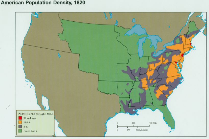 Map U S Population Density 1820 School Ideas Pinterest