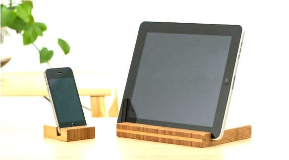 Bamboo smart phone stand, iPhone tablet dock, handmade
