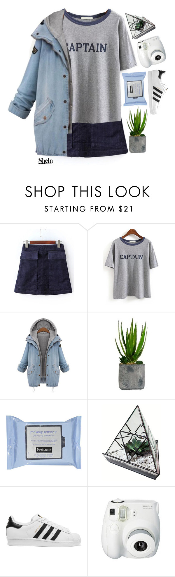 """""""#SheIn"""" by credentovideos ❤ liked on Polyvore featuring Laura Ashley, adidas Originals and Fujifilm"""