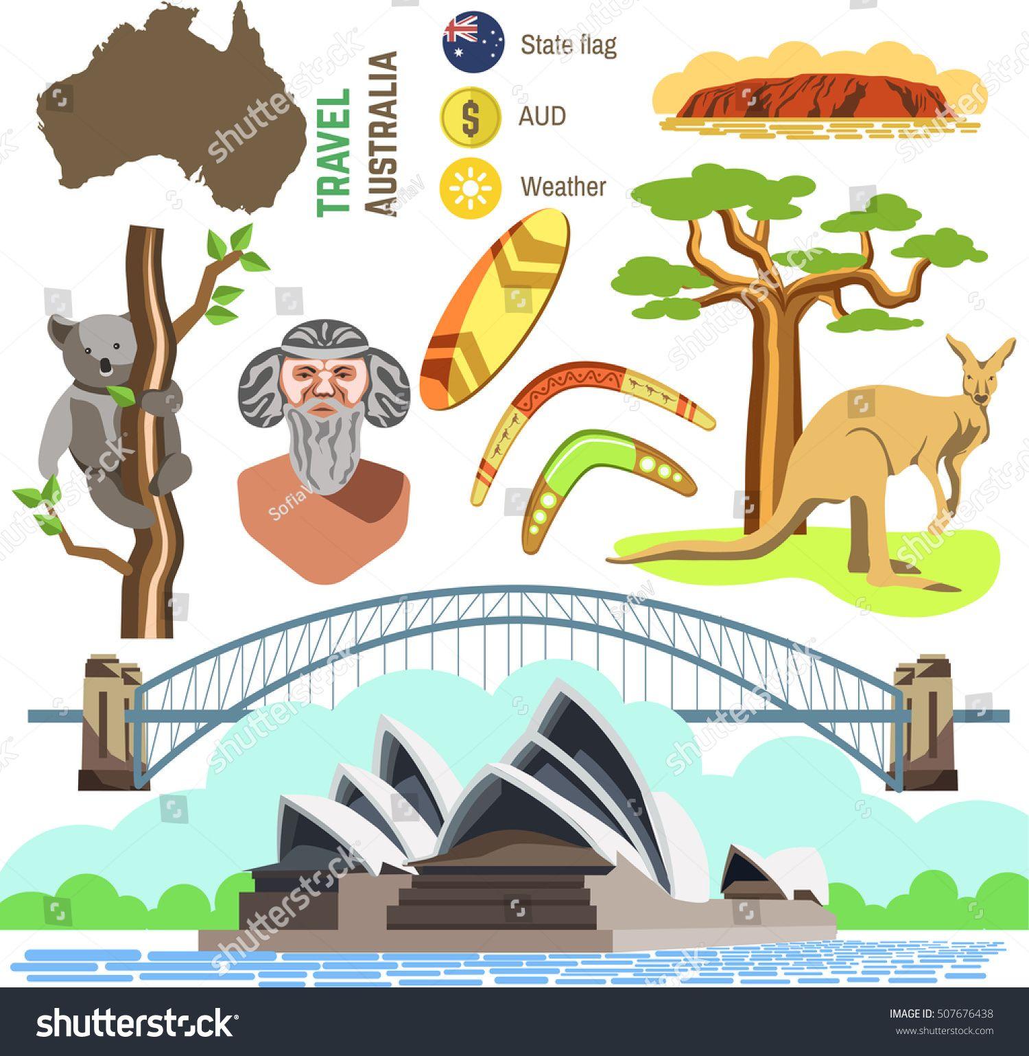 Set of australia culture symbols collection icons kangaroo and set of australia culture symbols collection icons kangaroo and koala boomerang and surf biocorpaavc Choice Image
