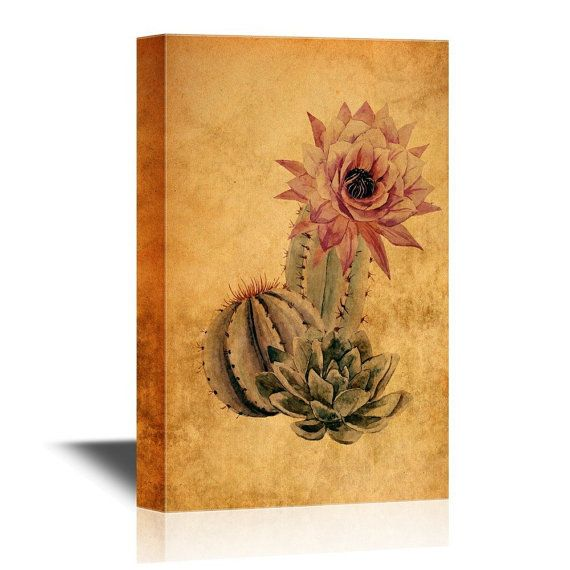 Wall26 Canvas Wall Art Cactus On Vintage Background Gallery Wrap Modern Home Decor Ready To Hang 24x36 Inches Canvas Wall Art Art Background Vintage