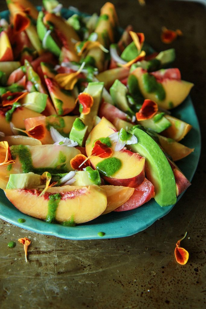 Peach and Avocado Salad with Cilantro Vinaigrette Tomato, Peach and Avocado Salad with Cilantro Vinaigrette - use 3 peaches and serve with a protein for the perfect late-summer Phase 3 lunch.Tomato, Peach and Avocado Salad with Cilantro Vinaigrette - use 3 peaches and serve with a protein for the perfect late-summer Phase 3 lunch.