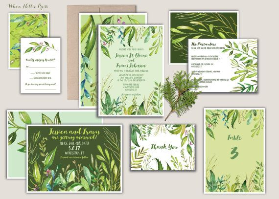 Spring Wedding Invitations-Green by WhoaNelliePress on Etsy