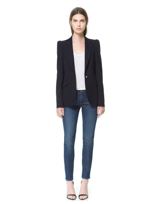 bf3c8033e9 Image 1 of BLAZER WITH GATHERED SHOULDERS from Zara