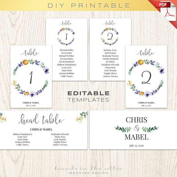 Floral wedding table numbers printable template, seating chart - seating chart templates