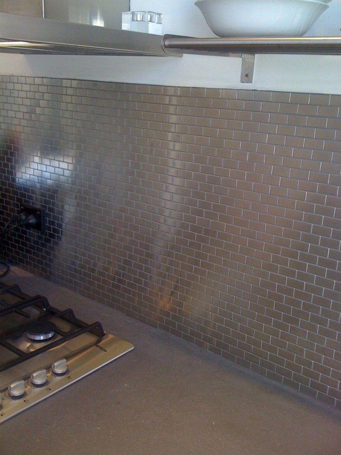 Metallmosaik Fliesen aus massivem Edelstahl Fliesen in Küche und - alternative zu fliesen in der küche