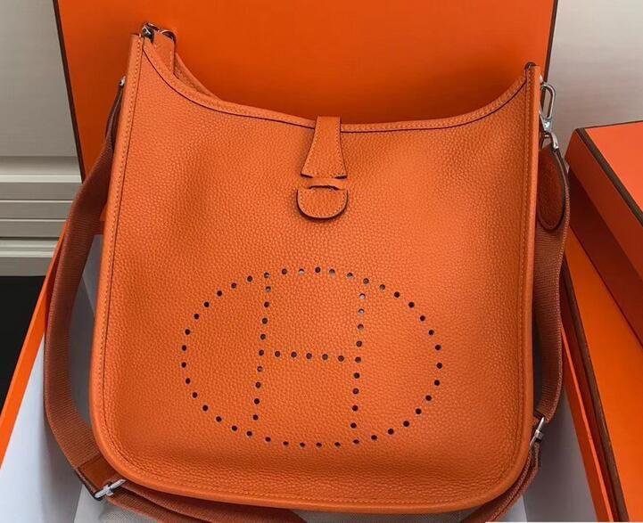 2018 Cheap Hermes Togo Leather Evelyne III PM Bag Orange  13913f5081ba7