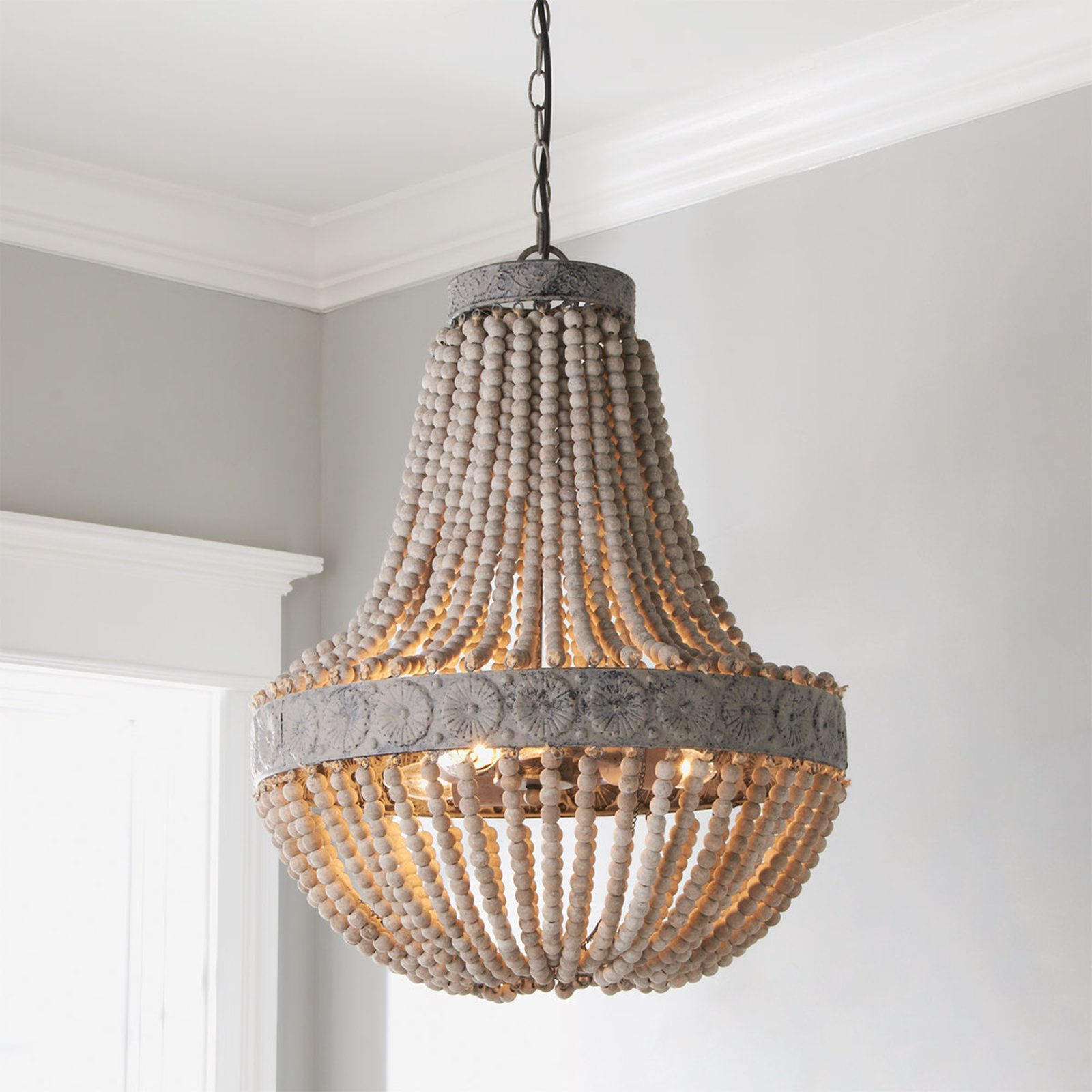 Aged Wood Beaded Chandelier 3 Light Wood Chandelier Wood Bead Chandelier Beaded Chandelier