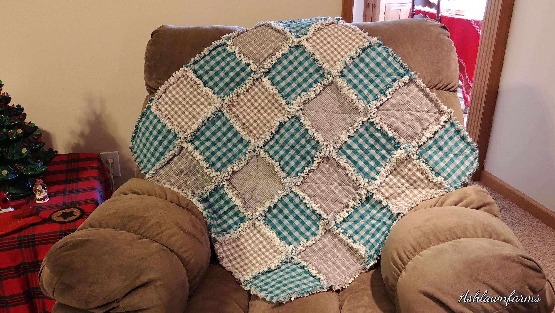 Rag Quilt Small Crib Size Rag Quilt Baby Rag Quilt Homespun Rag