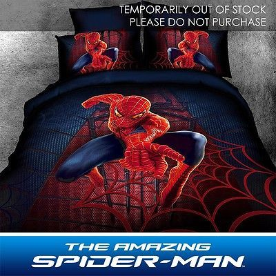 Spiderman Kids Bedding Duvet Cover Set Full Queen 4 Piece