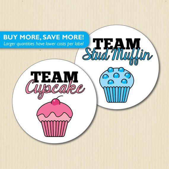 24 Large Cupcake Or Stud Muffin Gender Reveal Party Stickers Studmuffin Team Boy Team Girl