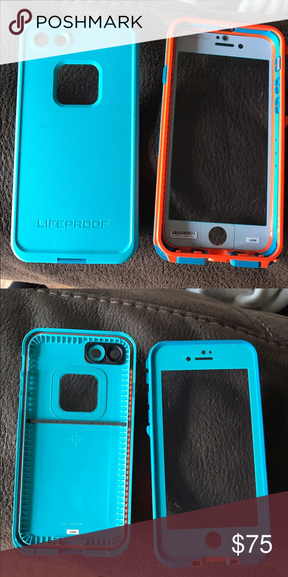 new product 17e1b 94a45 Life proof case (iPhone 7) Orange and blue life proof case for ...