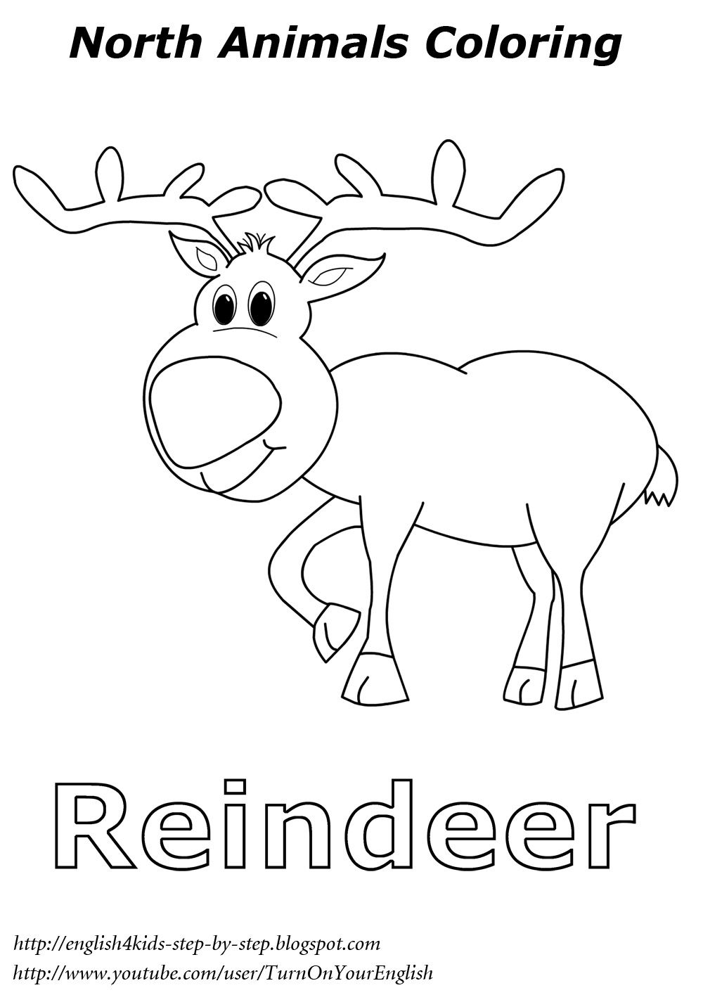 reindeer Christmas coloring North