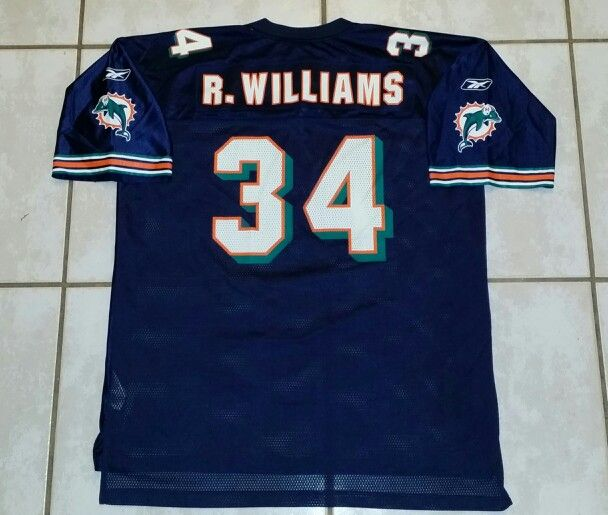 sports shoes 51568 525c3 Vintage REEBOK Miami Dolphins Ricky Williams NAVY BLUE ...