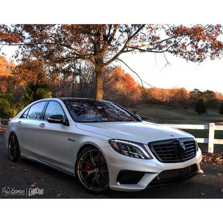 Mercedes S63 Wrapped In Satin Pearl White