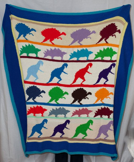 Vintage 80s Dinosaur Blanket Afghan for Boy / Knitted Crocheted Throw Blanket...