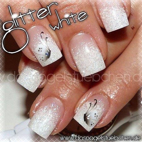 ganz dezentes airbrush auf weissem glitterverlauf nails pinterest nagelschere. Black Bedroom Furniture Sets. Home Design Ideas