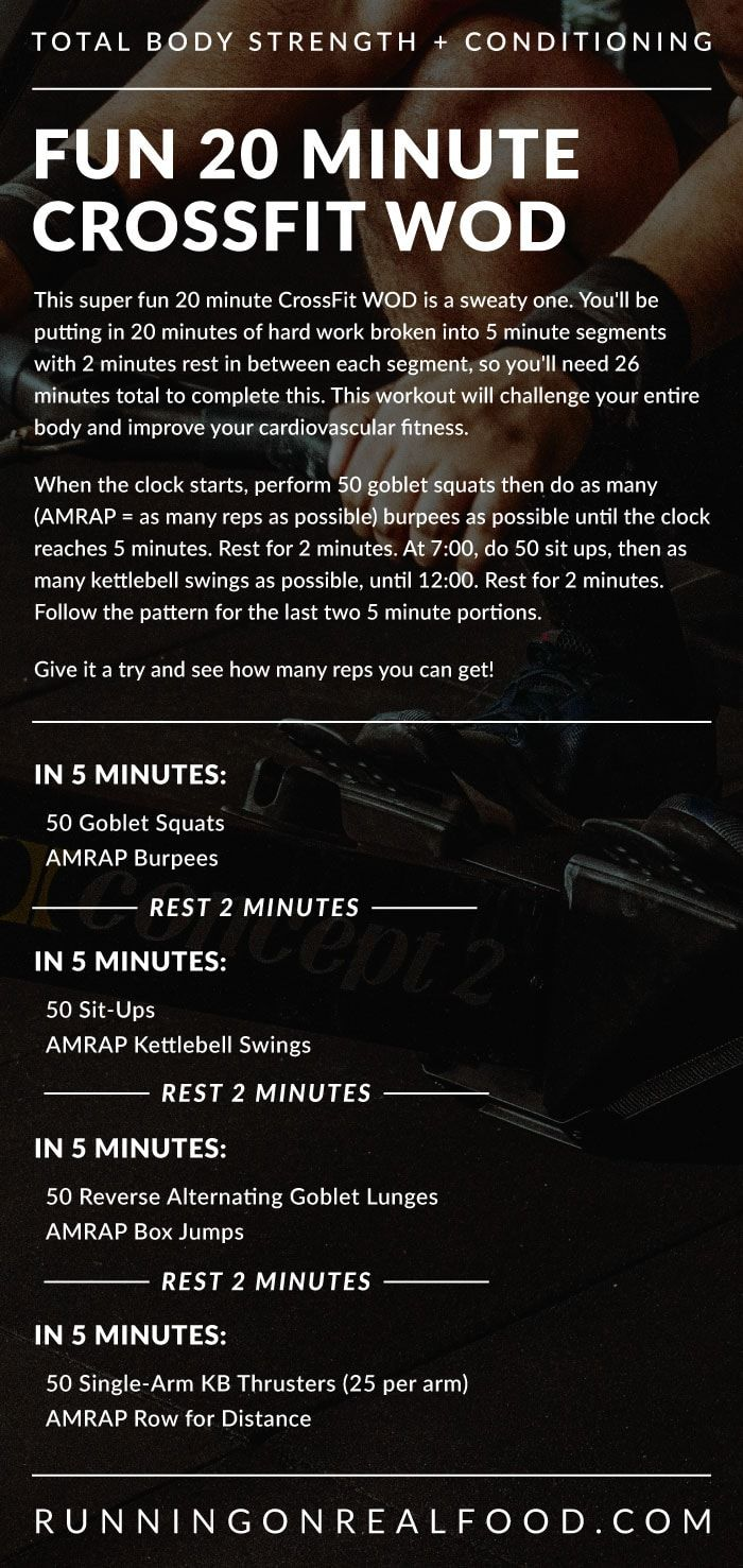 Try this fun and sweaty 20 minute CrossFit WOD! It's 20 minutes of hard work broken into 5 minute se...