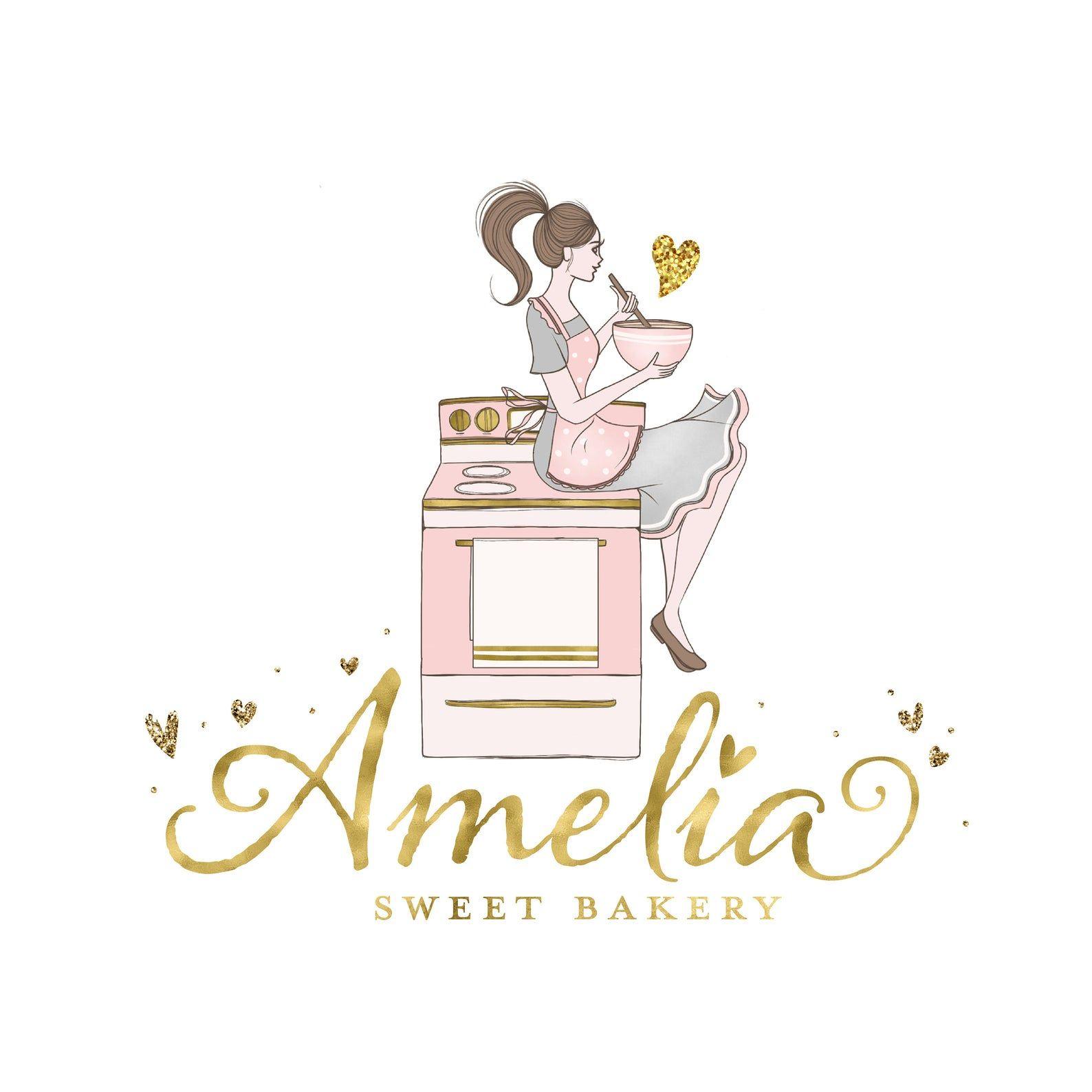 Premade Bakery Girl Logo Design Baking Cooking Blogger