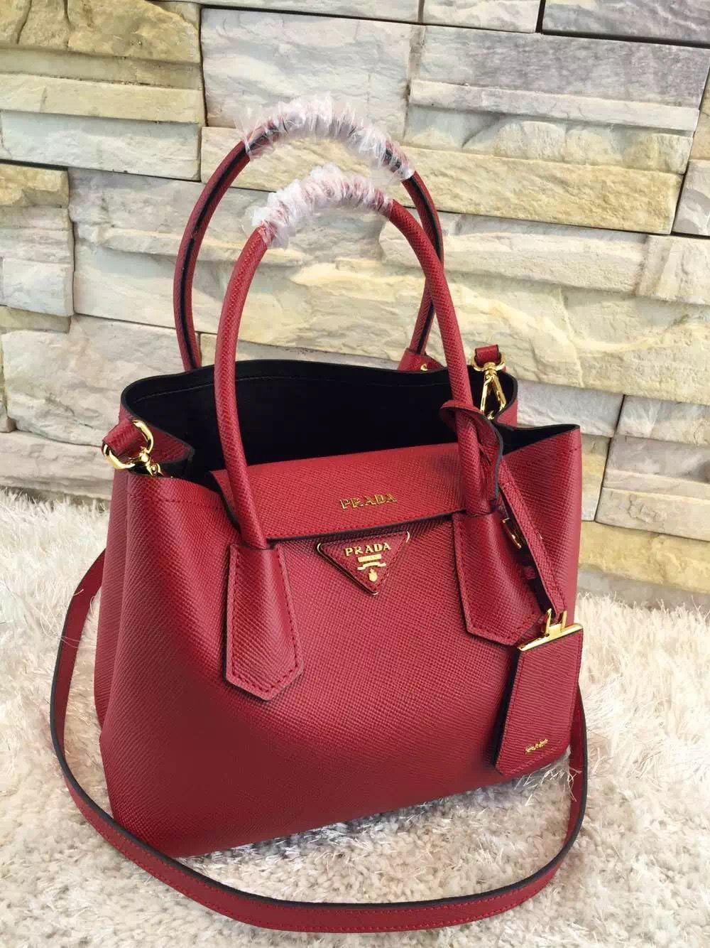 1998b786bc Prada Mini Saffiano Cuir Leather Tote Red 2015