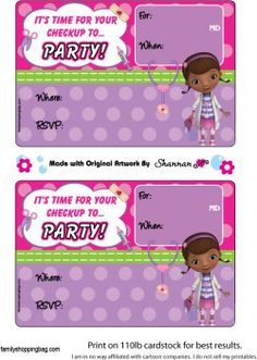 Printable Doc McStuffins Invitations
