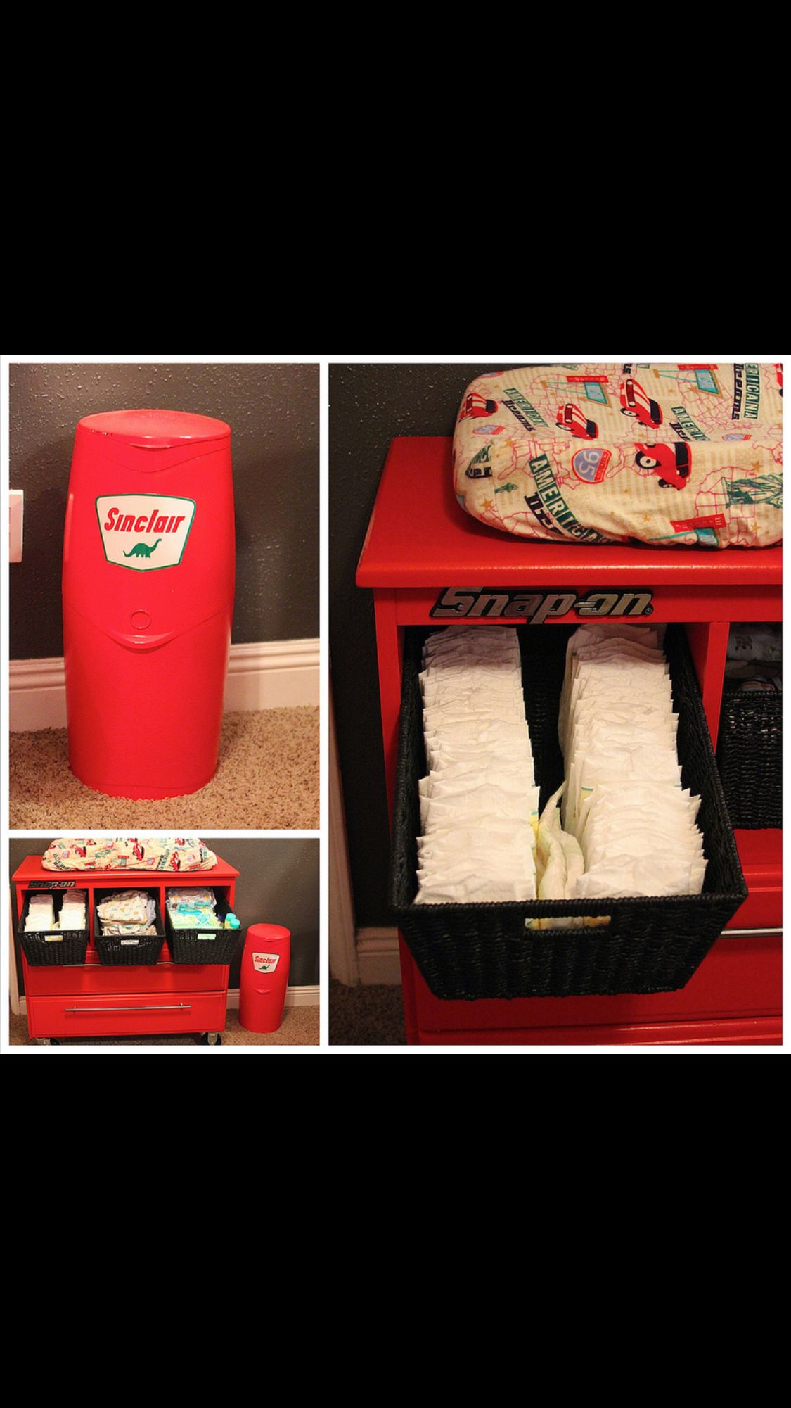 Baby Boy Room Cars: Tool Box DIY Changing Table Http://mywaymommy.blogspot.com