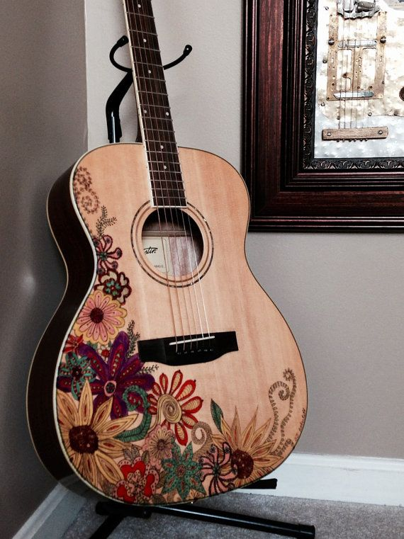New Austin Acoustic Folk Guitar Artfully Decorated With Ukulele Design Guitar Ukulele Art