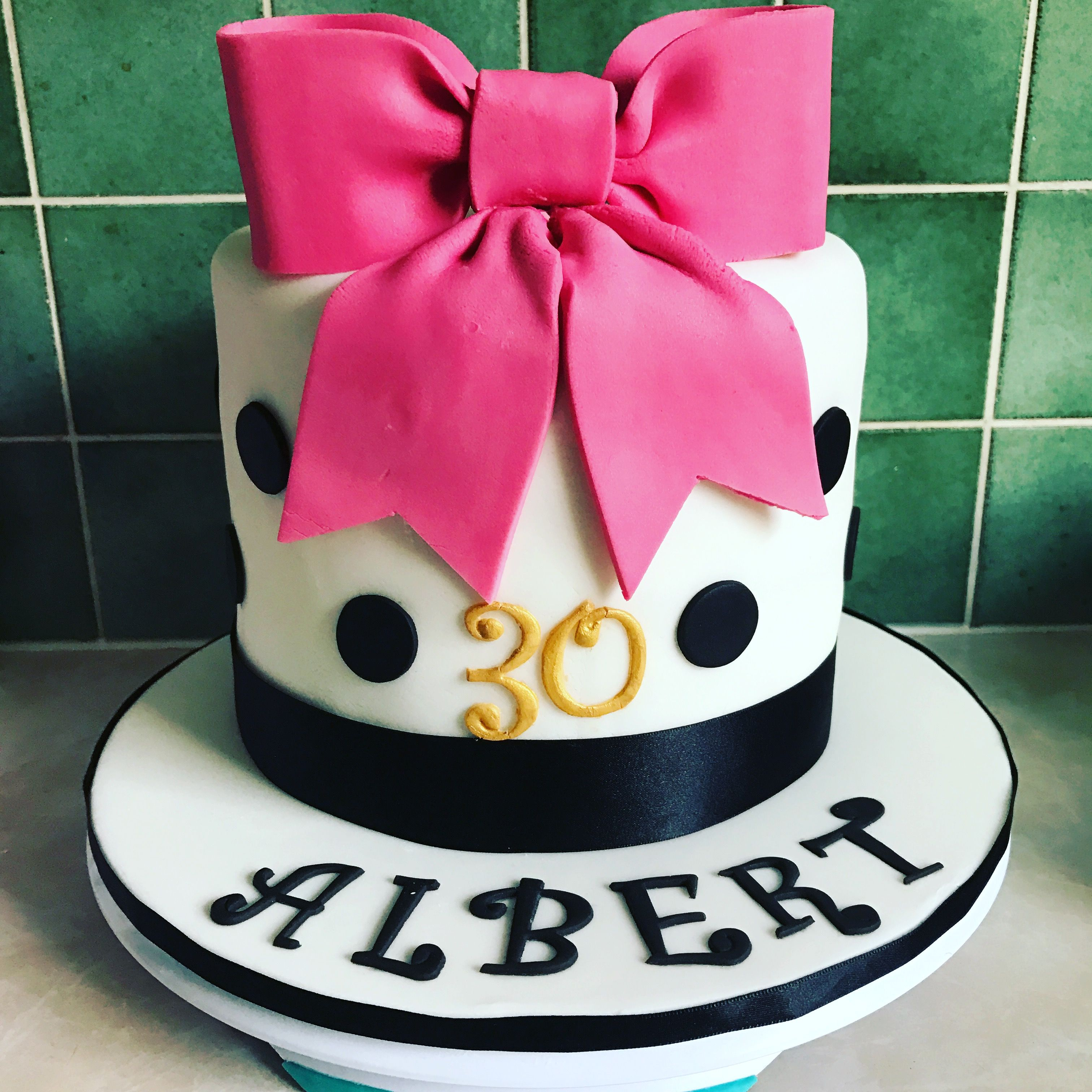 Elegant 30th Birthday cake with spots a bow My cake creations