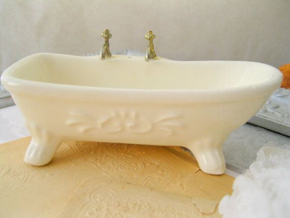 Vintage Miniature Bathtub Antique Ceramic Soap Dish By Prettyduzz