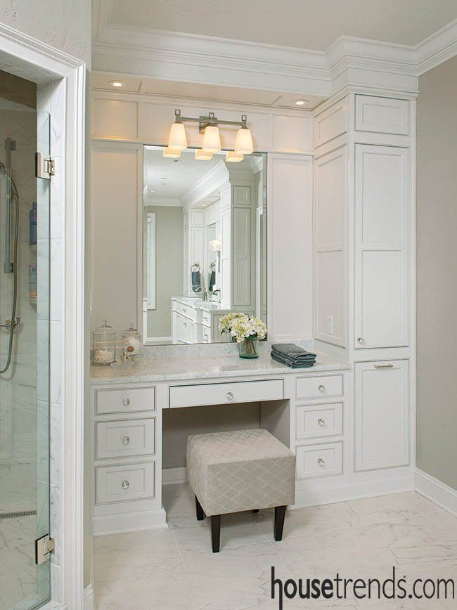 This Master Bathroom Also Includes A Makeup Vanity And A