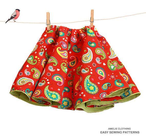 Toddler full skirt sewing pattern - reversible girls skirt pdf ...
