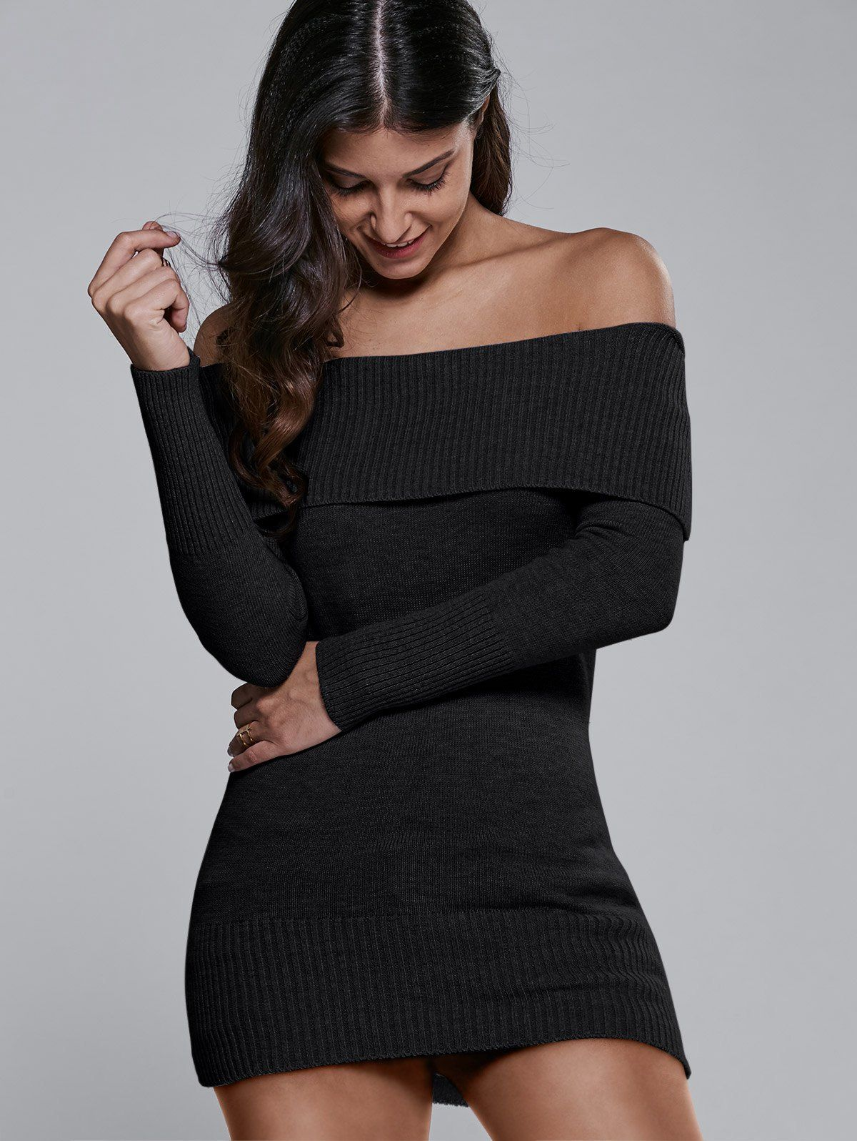Slimming Off The Shoulder Sweater Dress