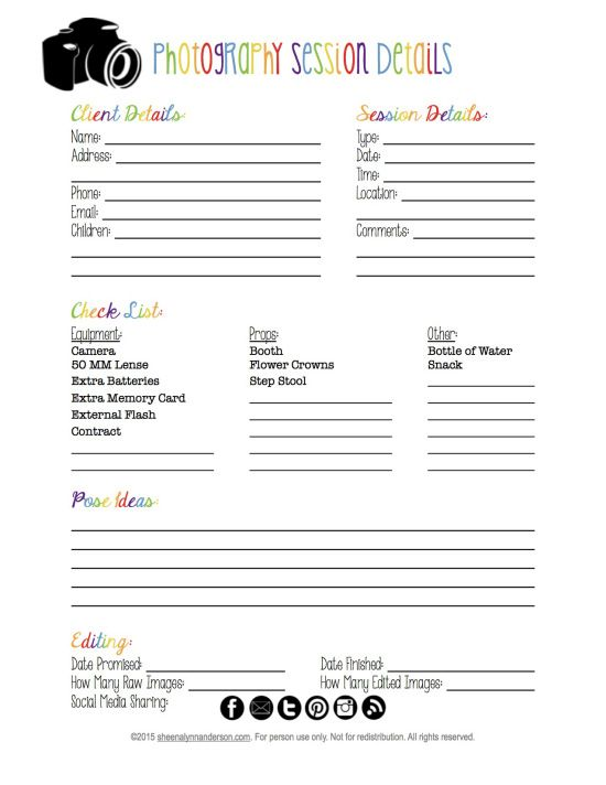 Photography Session Planner {{FREE Printable Lynn anderson, Free - printable contracts